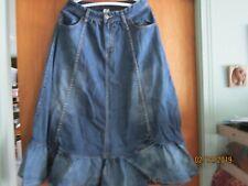 "Artka Jean skirt 31"" long 28"" waist M 4 Pockets sewing machine buttons no tags"