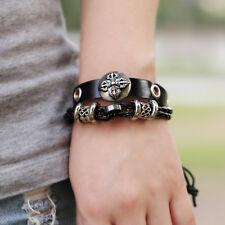 Men Boy Stainless Steel Cross Shield Adjustable Leather Beaded Bracelet Jewelry