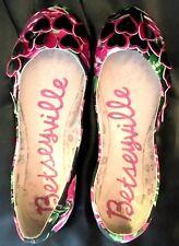 BETSEY JOHNSON Betseyville Pink Heart Valentine Day Flower Slipper Ballet Flat 8