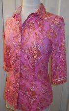 Womens $248 ROBERT GRAHAM Pink Coral Floral Paisley Bandana Print Shirt~XS~SALE!