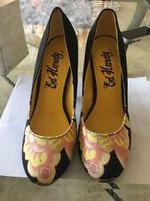 Ed Hardy Sz 6 Women's Amma Heels Pinup  Stilettos Black Yellow Pink Rockabilly