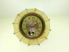 ANTIQUE PLIQUE A JOUR UMBRELLA DESK CLOCK WITH WORKING PENDULUM - FRENCH MADE