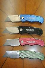 4 HUSKY Metal Folding BOX CUTTER Utility Knife BLUE Black RED Green FOUR LOT