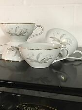 Kaysons Golden Rhapsody Fine China Japan Tea Cup Set 4 Lily Valley