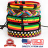 Jamaican Reggae Hippie Leather Unisex Men Women Cuff Wristband Bracelet 5pcs Set