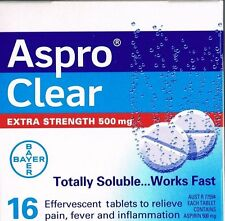 ==> ASPRO CLEAR 500MG ASPIRIN 16 EFFERVESCENT TABS MIGRAINE TOOTHACHE