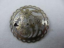 Silber Brosche mit Blumenmotiv / Handarbeit / 835 Silber gepunzt