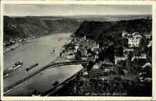 ~1930 Schiff Frachter passieren St. Goar Rheinfels AK Verlag Hoursch & Bechstedt