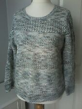 BETTY BARCLAY jumper grey blue silver sequin loose knit UK 14