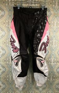 Fox Racing Girls Size 7/8 Youth Stars Pink Black Gray Motorcross Pants Lined EUC
