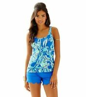 New Lilly Pulitzer Tabbie Tank Blue Crush bamboom Sleeveless Top shirt