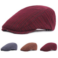 Unisex Men Women Warm Striped Cabbie Driving Cap Adjustable Casual Beret Hat