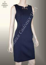 IVANKA TRUMP Women Dress NAVY BUE Size 8 Sleeveless METAL ACT Knee Dressy LBCUSA