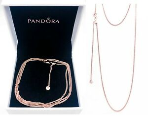 NEW 100%  Authentic PANDORA Rose™ 14K Gold Logo Curb Chain Necklace 388283