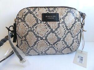 Radley Dukes Place Black Print Leather Crossbody Bag BNWT RRP £149 & Dust Bag