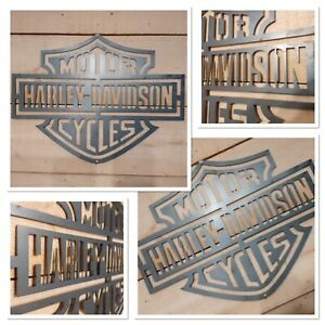 Premium HARLEY DAVIDSON MOTORCYCLE Logo Metal Sign Hand Finished Wall ART BIKE
