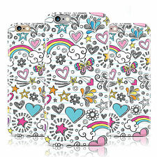 COLOUR SKETCH HIPPY RAINBOW HEART STAR CASE COVER FOR APPLE IPHONE MOBILE PHONES