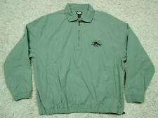 Mens Large TOMMY BAHAMA Fish RELAX Magnum PI 1/2 Zip Green Sweater s/s Shirt