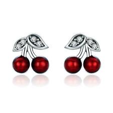 Cute Lovely Red Cherry S925 Sterling Silver Stud Earrings Women Wedding Jewelry