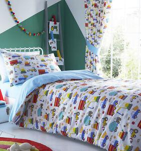 Bright Trucks Boys Kids Single Bed Reversible Duvet Quilt Cover Bedding Set New