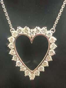 "10K White Over 1.00ctw D-VSS1 Round Diamond Open Heart Pendant Chain 18""Necklace"