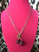 Crystal Paved Cherry Cherries Necklace Betsey Johnson Calypso Fuchsia Pink
