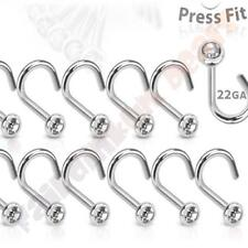 316l Surgical Steel 22g Press Fit Nose Screw With 2.5 Mm CZ Gem Ball