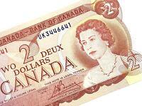 1974 Canada 2 Dollar UK Prefix Uncirculated Canadian Lawson Bouey Banknote M835