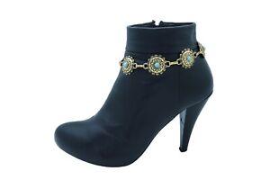 Women Gold Metal Boot Chain Bracelet Shoe Bohemian Charms Turquoise Blue Flower