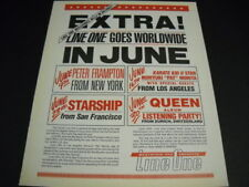 Queen Starship Peter Frampton more Line One Goes Worldwide 1986 Promo Poster Ad