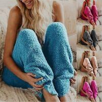 Womens Lounge Sleep Pants Pajama Bottoms Warm Fleece Trousers Casual Nightwear