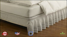 "NEW Bed Skirt Wrap Around Ruffled Elastic Queen King Size White 18"" XL Washable"