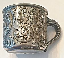 GORHAN REPOUSSE ANTIQUE STERLING SILVER  Mustache Cup Shaving Mug Ornate Handle