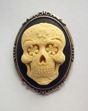 Sugar Skull Day of Dead Resin Cameo Brooch  60mm