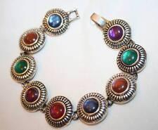 Lovely Multi-Color Bevel Round Links Silvertone Bangle Bracelet