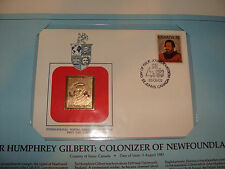 Canada FDC w/ 23 kt gold replica Stamp 1983 Sir Humphrey Gilbert Newfoundland