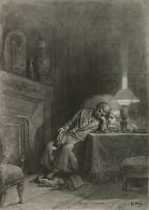 The Raven, illustration 3, 1832, GUSTAVE DORE Edgar Allan Poe Poster