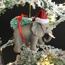 Resin Elephant in a Santa Hat Christmas Decoration Gisela Graham Quirky Tree