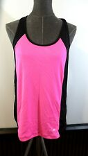 """****Xersion**** Wmn's """"S"""" Black/Pink Poly 'Slim Fit' T-Back Athletic Tank Top"""