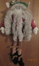 "Hand-crafted vintage looking Santa Elf Rag Doll 16"" tall 8"" sitting"