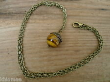 "Antique Bronze Acorn Pendant necklace 20"" wicca pagan tigers eye oak tree"