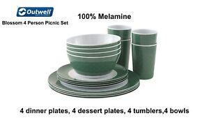Outwell Blossom 4 person Picnic Set - 100% Melamine - Camping and Picnics