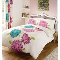 Iris Cream/purple Multi Coloured Floral Reversible Bedding King Duvet Cover Set
