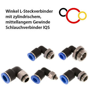 Winkel Steckverbinder m. zylindrischem mittelangem Gewinde Schlauchverbinder IQS