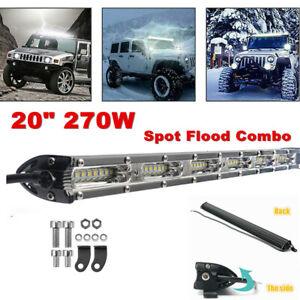 "20"" 270w Single Row LED Work Light Spot Flood Combo Offroad Driving Fog Light"