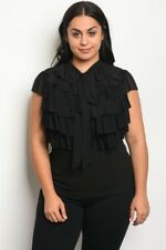 Women's Plus Size Black Stretch Top with Ruffled Accents 1X NWT