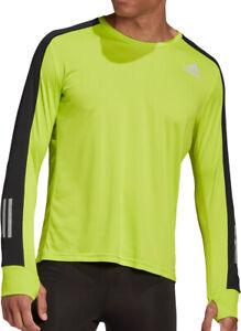 adidas Own The Run Mens Running Top Green Long Sleeve Reflective AEROREADY