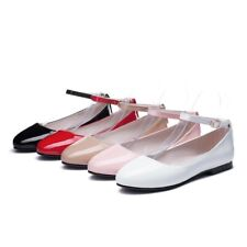 Women's Ankle Strap Flat Heel Pumps Lolita Round Toe Patent Leather Shoes Big S