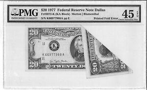 1977 $20 Dollar Federal Reserve Dallas USA Print Fold Error PMG 45 EPQ America