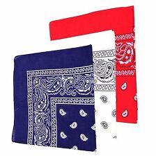 Kopftuch Bandana Baumwolle Paisley Bandanas Halstuch Tuch Blau Weiß Rot NEU